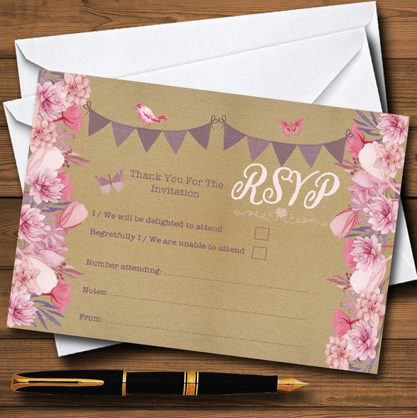 Lilac & Pink Rustic Bunting & Floral Personalised RSVP Cards