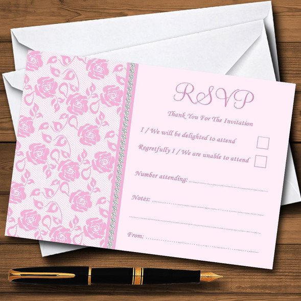 Pretty Baby Rose Pink Floral Diamante Personalised RSVP Cards