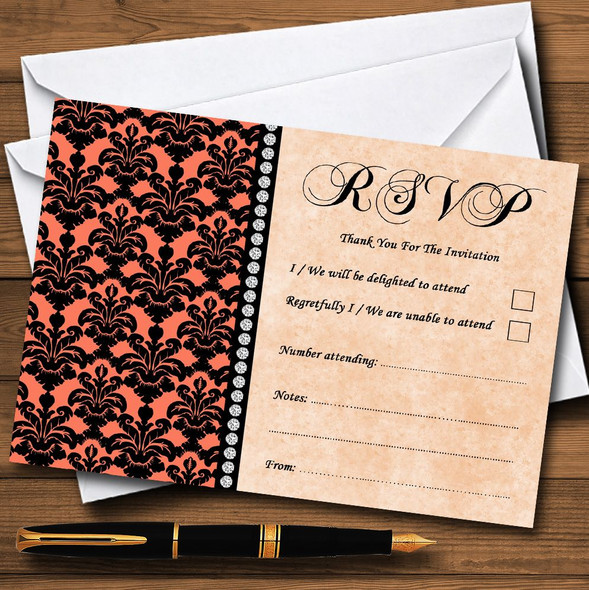 Coral Black Damask & Diamond Personalised RSVP Cards