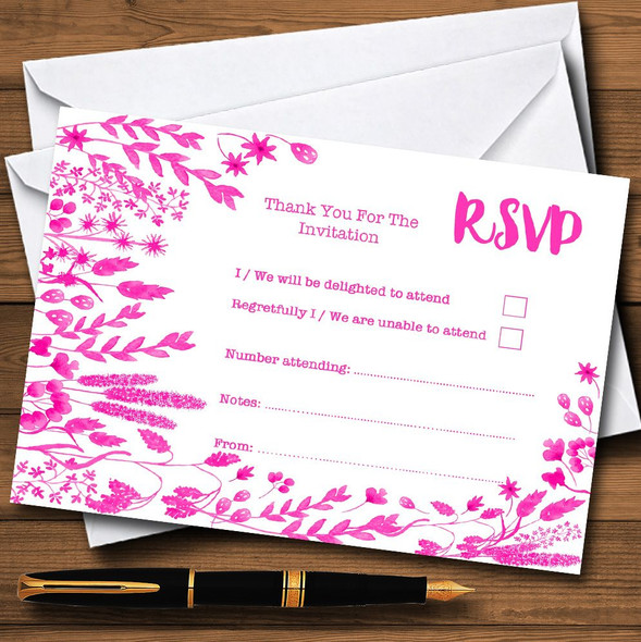 Hot Pink Autumn Leaves Watercolour Personalised RSVP Cards