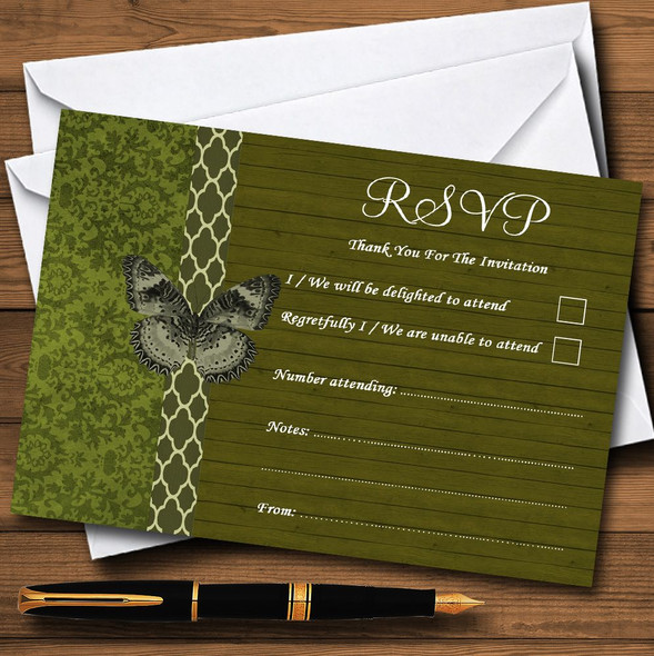 Rustic Vintage Wood Butterfly Olive Green Personalised RSVP Cards