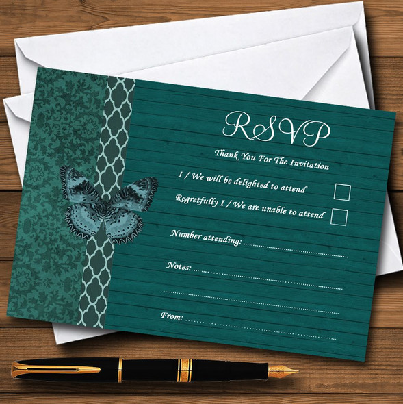 Rustic Vintage Wood Butterfly Turquoise Teal Personalised RSVP Cards
