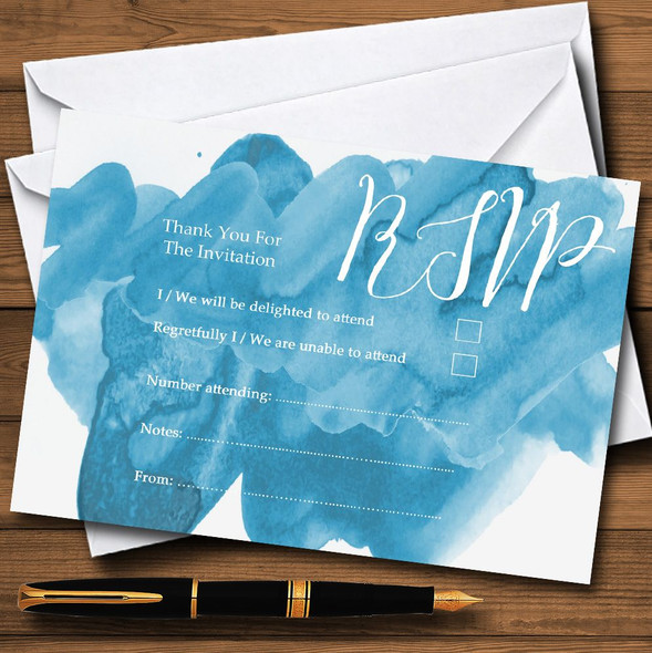 Sea Blue Watercolour Personalised RSVP Cards