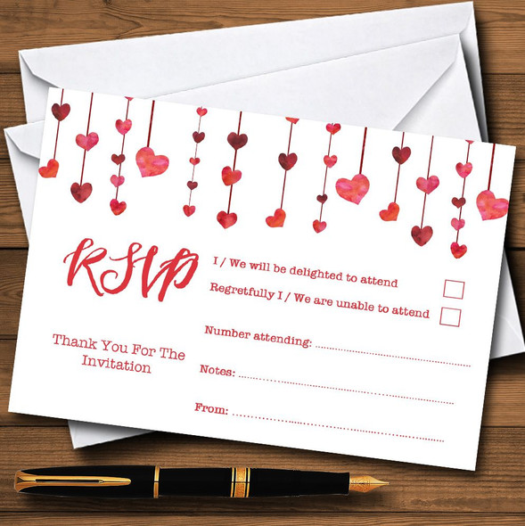 Red Watercolour Heart Drop Personalised RSVP Cards