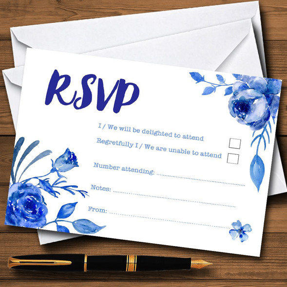 Blue & White Watercolour Floral Personalised RSVP Cards