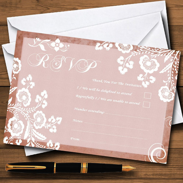 Rustic Blush Lace Personalised RSVP Cards