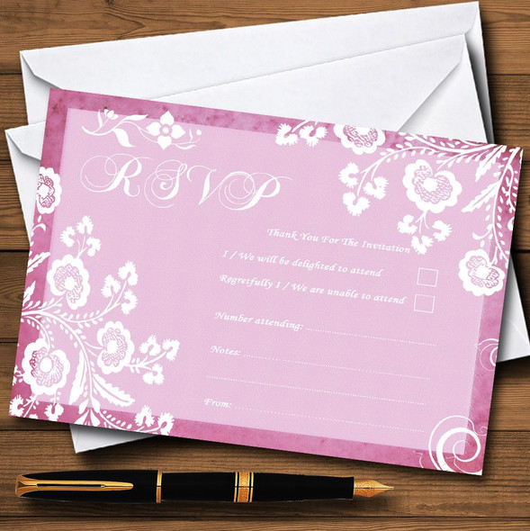 Rustic Pink Lace Personalised RSVP Cards