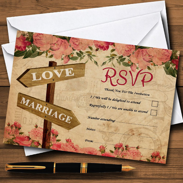 Rustic Pink Roses Signpost Shabby Chic Vintage Personalised RSVP Cards