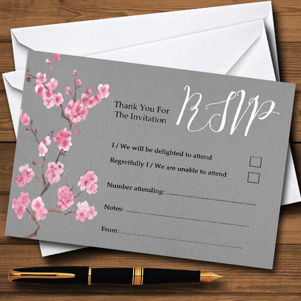 Rustic Vintage Dark Grey & Pink Blossom Personalised RSVP Cards