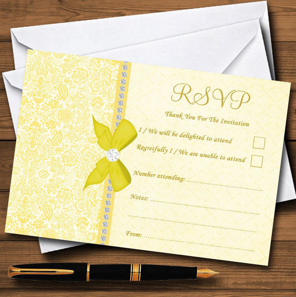 Pretty Floral Vintage Bow & Diamante Yellow Personalised RSVP Cards
