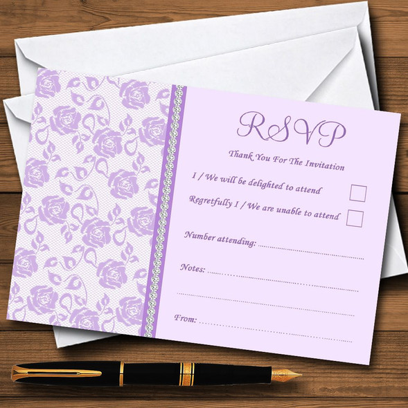 Pretty Lilac Purple Floral Diamante Personalised RSVP Cards