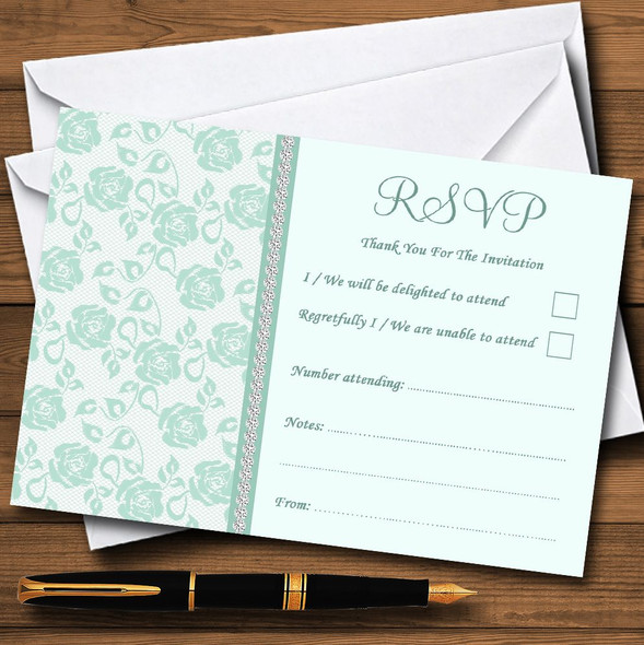 Pretty Mint Green & Sage Floral Diamante Personalised RSVP Cards
