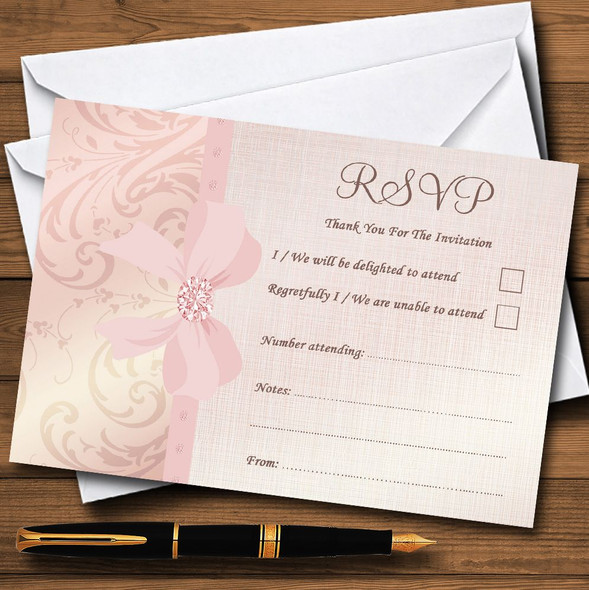 Pretty Pale Coral Pink Damask Bow Wedding Personalised RSVP Cards