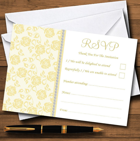 Pretty Pale Yellow Floral Diamante Personalised RSVP Cards