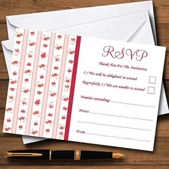 Pink Red Roses Shabby Chic Stripes Personalised RSVP Cards