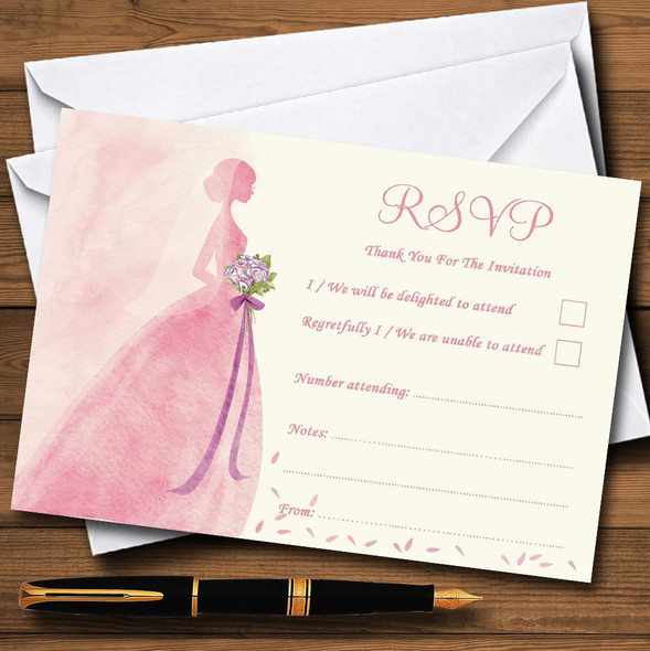 Pink Classic Bride Personalised RSVP Cards