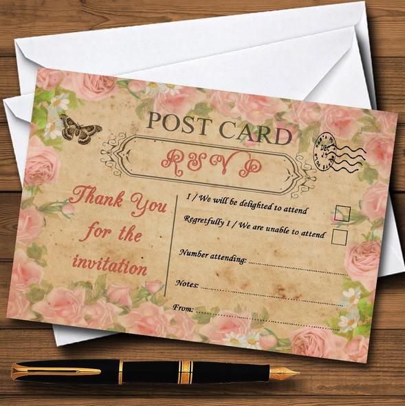 Pink Rose Vintage Shabby Chic Postcard Personalised RSVP Cards