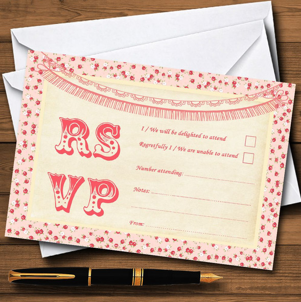 Pink Roses Shabby Chic Garland Personalised RSVP Cards