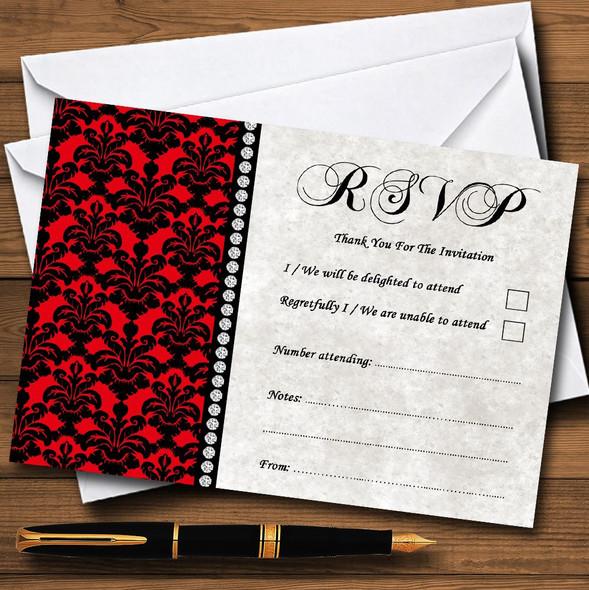 Deep Red Black Damask & Diamond Personalised RSVP Cards