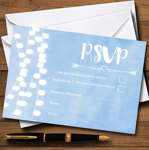 Powder Blue Lights Watercolour Personalised RSVP Cards