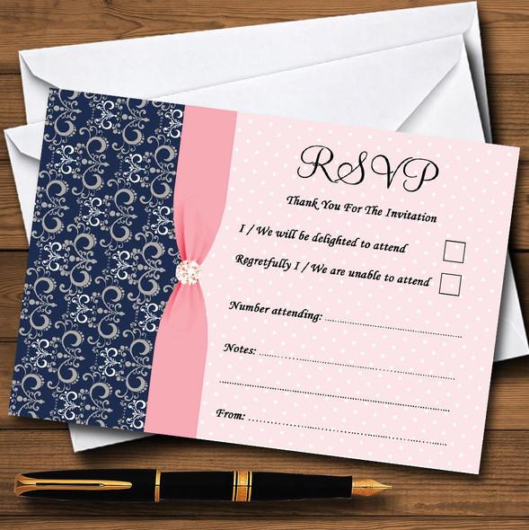 Dusky Coral Pink Vintage Diamond Bow Personalised RSVP Cards