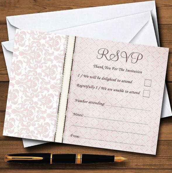 Dusky Rose Pink Damask Vintage Pearl Personalised RSVP Cards