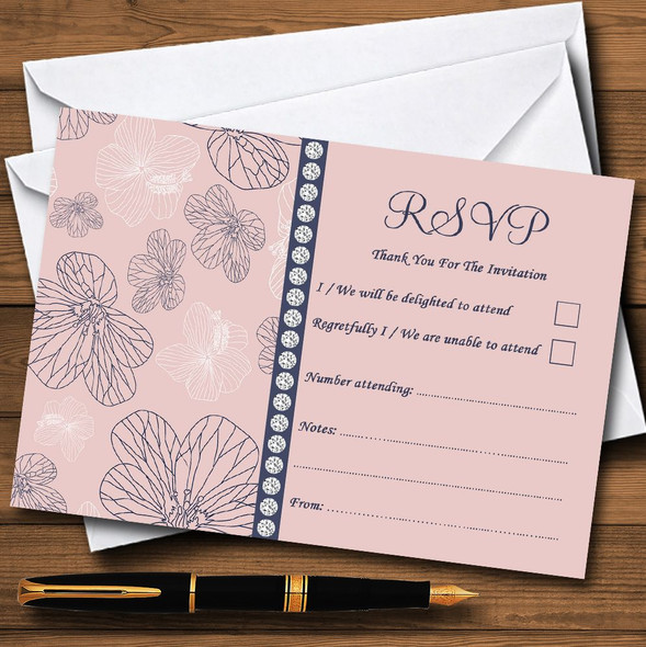 Dusty Coral Pink And Blue Floral Personalised RSVP Cards