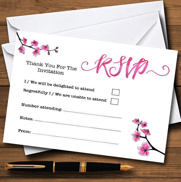 Pink Cherry Blossom Watercolour Personalised RSVP Cards