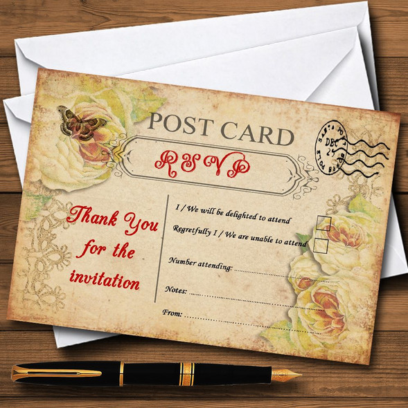 Old Vintage Shabby Chic Postcard Personalised RSVP Cards