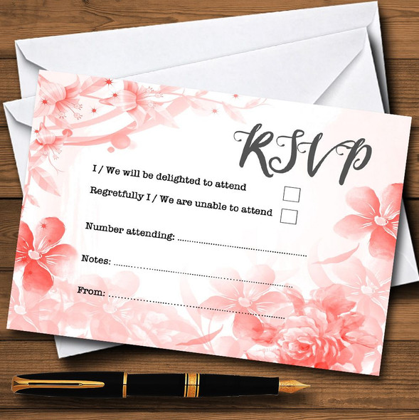 Coral Watercolour Floral Personalised RSVP Cards