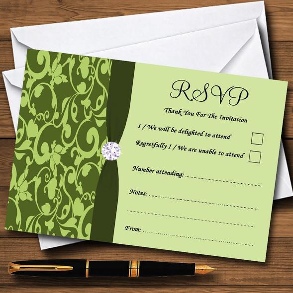 Olive Green Vintage Floral Damask Diamante Personalised RSVP Cards