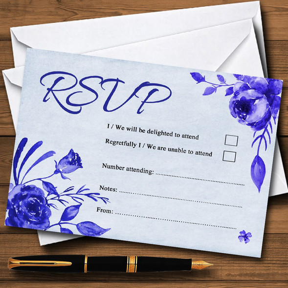 Pale Blue & White Watercolour Floral Personalised RSVP Cards