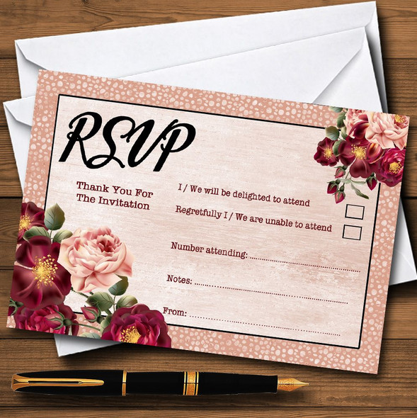Coral Blush & Deep Red Watercolour Rose Personalised RSVP Cards