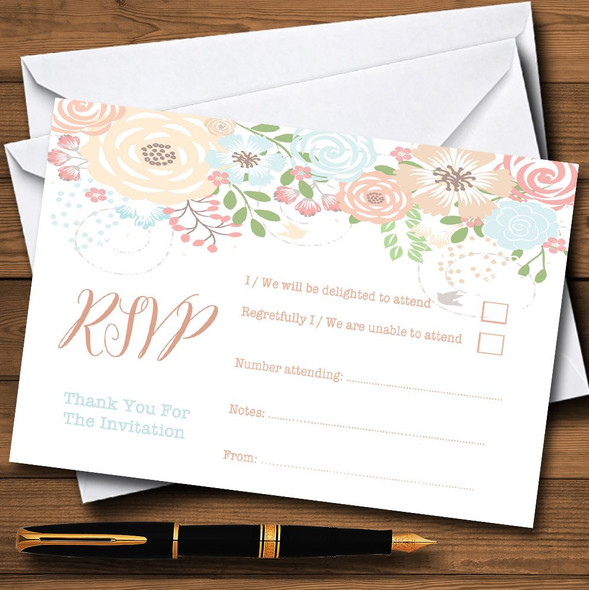Coral Peach & Blue Watercolour Floral Header Personalised RSVP Cards