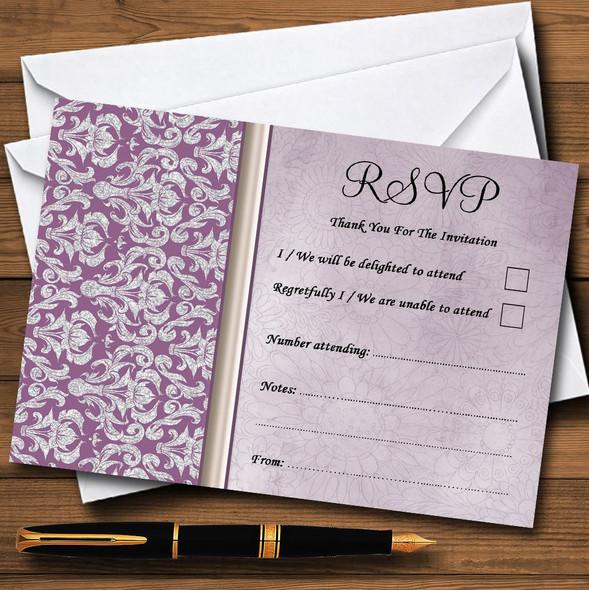 Lavender Lilac Vintage Damask Pretty Personalised RSVP Cards
