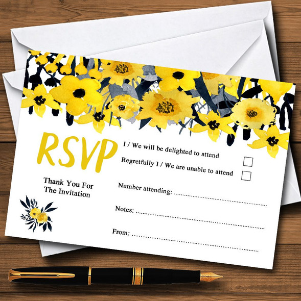 Black & Yellow Watercolour Flowers Personalised RSVP Cards