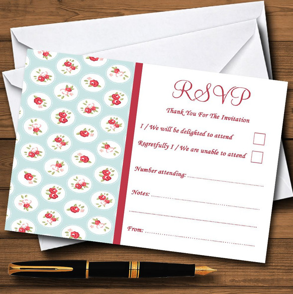 Light Blue And Red Roses Shabby Chic Chintz Personalised RSVP Cards