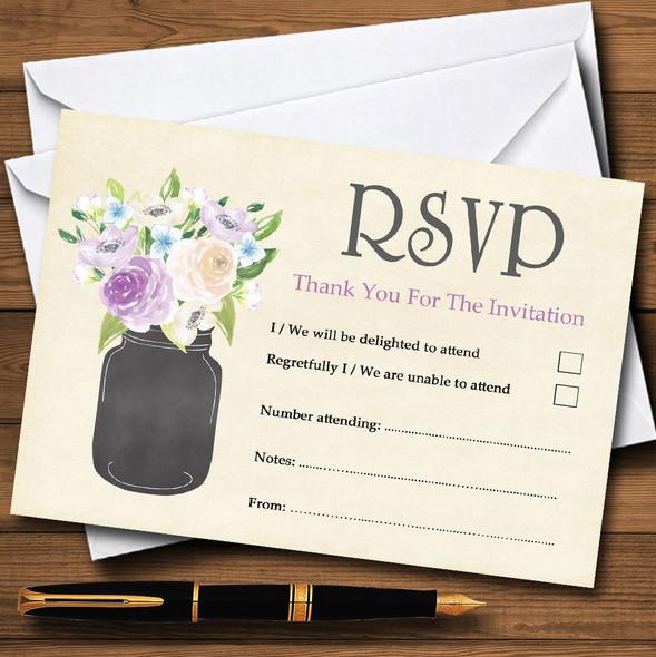 Lilac & Blue Flower Vase Vintage Personalised RSVP Cards