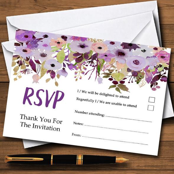 Lilac & Purple Peonies Personalised RSVP Cards