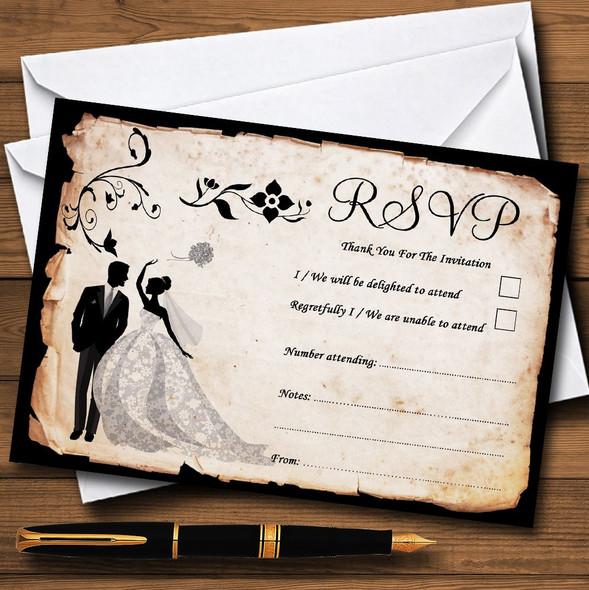 Black White Vintage Rustic Postcard Personalised RSVP Cards