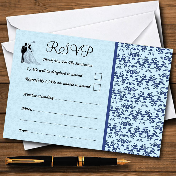 Blue Classic Vintage Personalised RSVP Cards