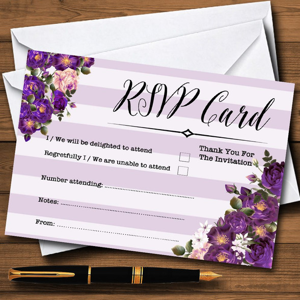 Cadbury Purple Rose & Stripes Vintage Personalised RSVP Cards