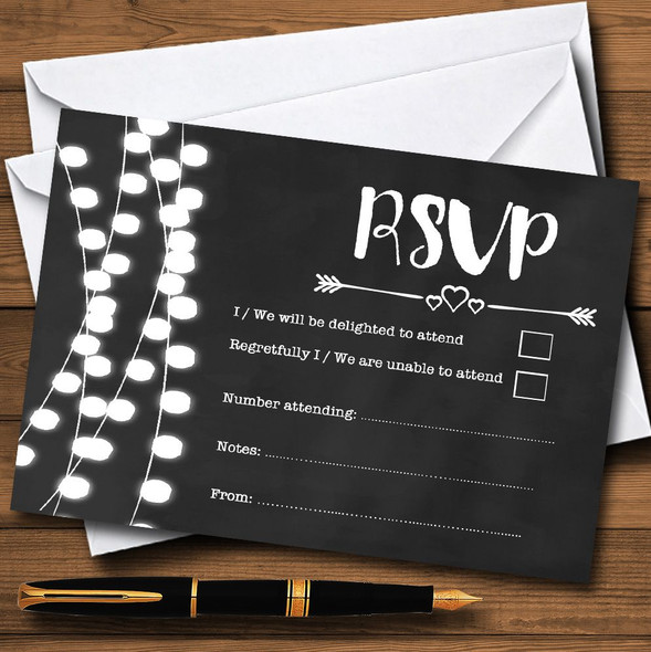 Chalk Style and Lights Watercolour Personalised RSVP Cards