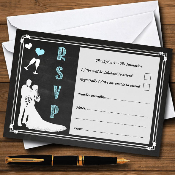 Chalkboard Aqua Personalised RSVP Cards