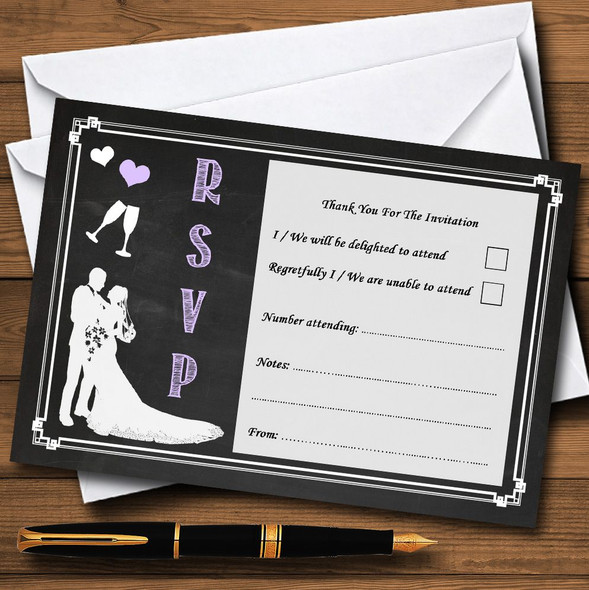 Chalkboard Lilac Personalised RSVP Cards