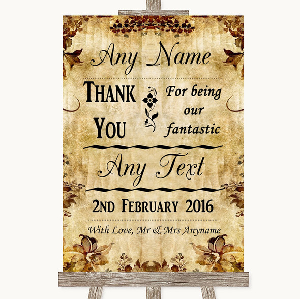 Autumn Vintage Thank You Bridesmaid Page Boy Best Man Personalised Wedding Sign