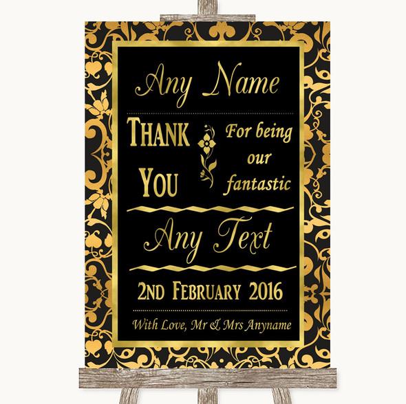 Black & Gold Damask Thank You Bridesmaid Page Boy Best Man Wedding Sign