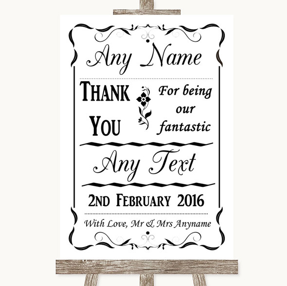 Black & White Thank You Bridesmaid Page Boy Best Man Personalised Wedding Sign