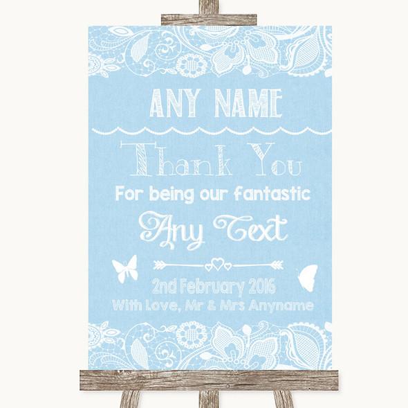 Blue Burlap & Lace Thank You Bridesmaid Page Boy Best Man Wedding Sign
