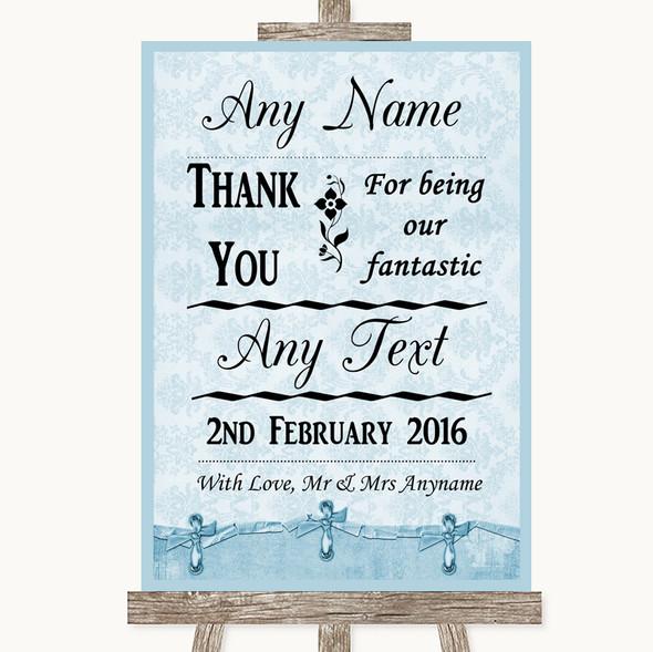 Blue Shabby Chic Thank You Bridesmaid Page Boy Best Man Wedding Sign